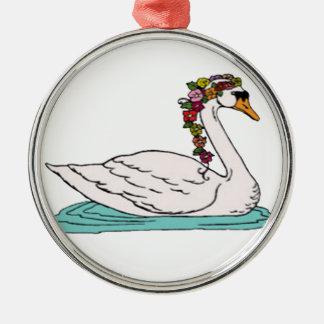 Swan 5 metal ornament