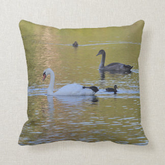 Swan and cygnet throw pillow