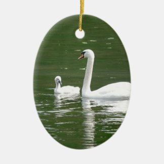 Swan and her Cygnet Ceramic Oval Ornament