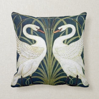 Swan and Rush and Iris wallpaper Pillow