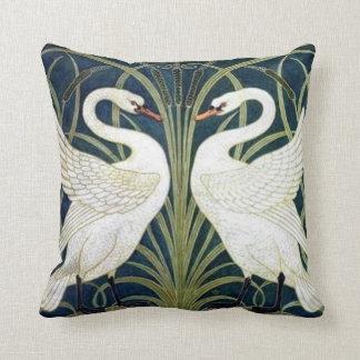 Swan and Rush and Iris wallpaper Pillow