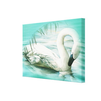 Swan as canvas picture