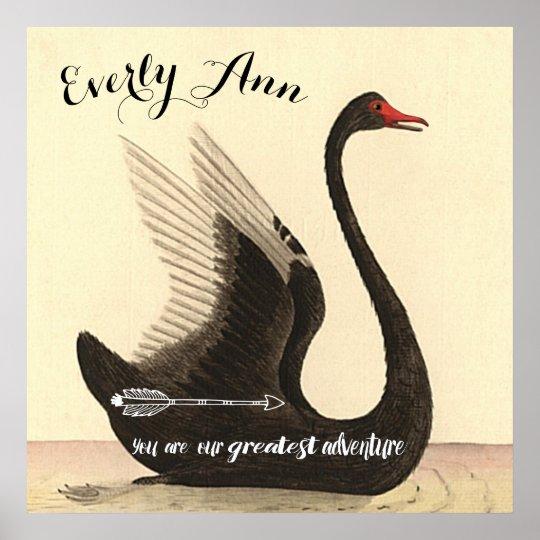 Swan Baby Girl Nursery Poster