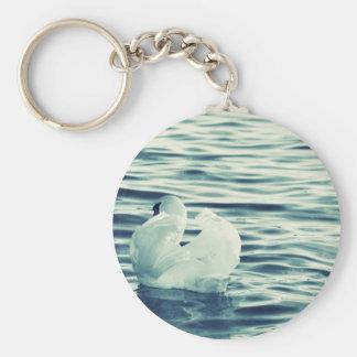 Swan Basic Round Button Keychain