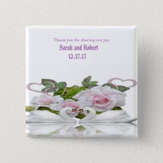 Swan Bird Wedding Gifts 2 Inch Square Button