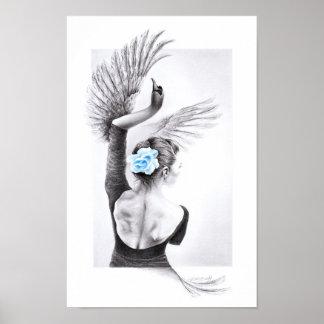 Swan dancing woman surreal pencil art Poster