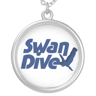 Swan Dive Round Pendant Necklace
