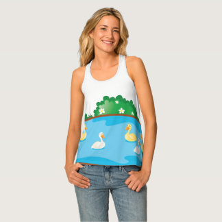 Swan Duck Pond Custom Tank Top