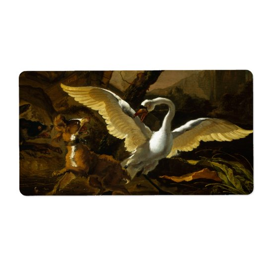 Swan Enraged by Dogs painting by Abraham Hondius Shipping Label