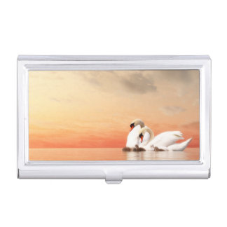 Swan family by sunset case for business cards