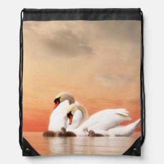 Swan family drawstring bag