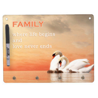 Swan family dry erase board with keychain holder