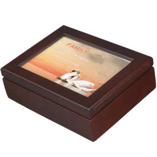 Swan family keepsake box