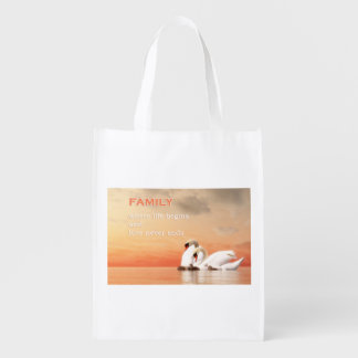 Swan family reusable grocery bag
