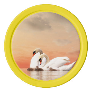 Swan family set of poker chips