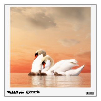 Swan family wall decal