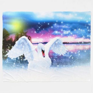 Swan Fantasy Fleece Blanket