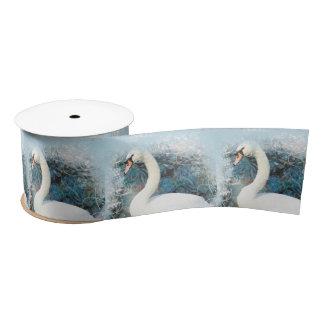 Swan floral swirl satin ribbon