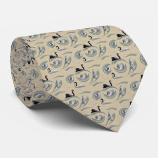 Swan Frenzy Tie Double Sided Print (Gold)