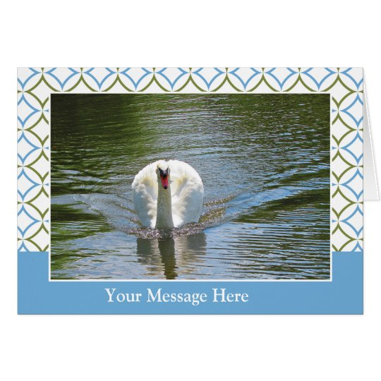 Swan Gliding on Blue Green Water Card