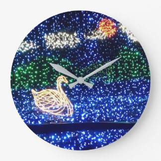 Swan in Lights Wall Clock