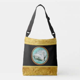Swan in turquoise water with Gold and black design Crossbody Bag