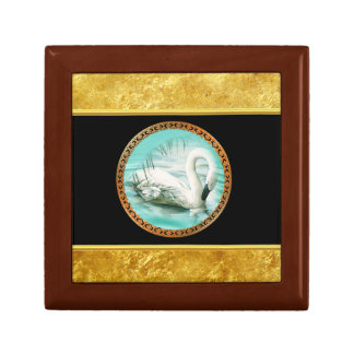 Swan in turquoise water with Gold and black design Gift Box