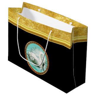 Swan in turquoise water with Gold and black design Large Gift Bag