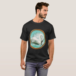 Swan in turquoise water with Gold and black design T-Shirt