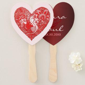 Swan Lace Live & Love Heart Hand Fan