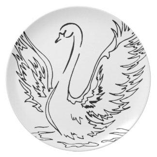 Swan Landing Line Drawing Plate