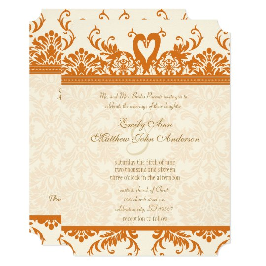 Swan Love Bird Coral & Ivory Damask Wedding Invite