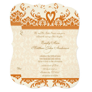 Swan Love Bird Coral & Ivory Damask Wedding Invite