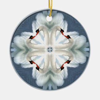 Swan Mandala Ceramic Ornament