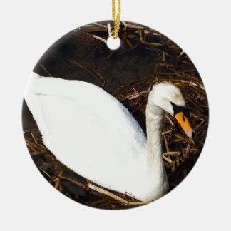Swan on  Lake Round Ceramic Ornament