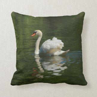 swan on lake throw pillow