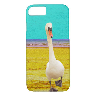 Swan on The Beach Collage Art Cover