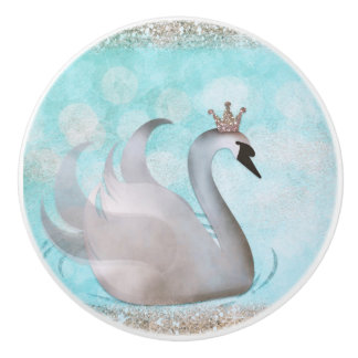 Swan Princess Faux Gold Glitter Chic Fairy Tale Ceramic Knob