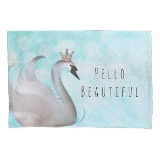 Swan Princess Faux Gold Glitter Chic Fairy Tale Pillowcase