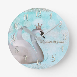 Swan Princess Gold Glitter Boutique Style Custom Round Clock