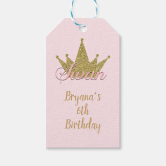 Swan Princess Gold Glitter Crown Birthday Party Gift Tags
