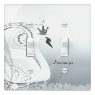 Swan Princess Silver & White Elegant Chic Custom Light Switch Cover