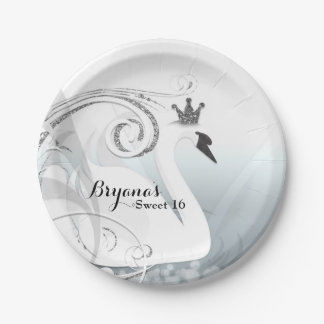Swan Princess Silver & White Elegant Custom Party Paper Plate