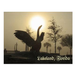 Swan Silhouette Lakeland Florida Postcard