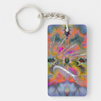 Swan Song Psychedelic Fractal Keychain