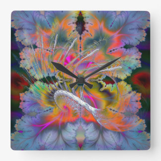 Swan Song Psychedelic Fractal Square Wall Clock