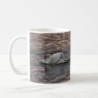 Swan swimming at sunset coffee mug