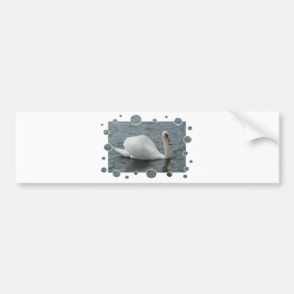 Swan swimming with bubbles frame bumper sticker