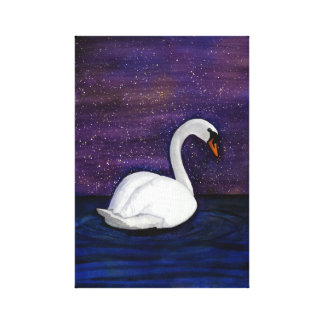 Swan Under a Starry Sky Watercolor | Serene Water Canvas Print