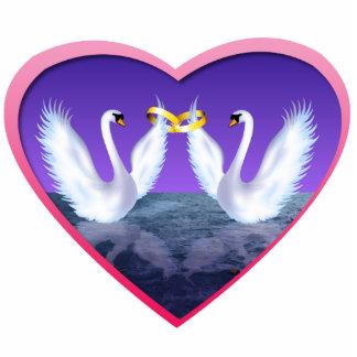 Swan Wedding Photo Sculpture Button